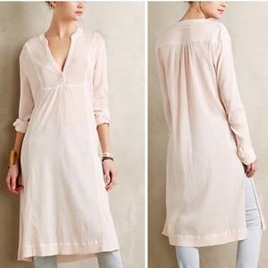 Anthro Floreat Soft Pink Long Sleeve Tunic Dress